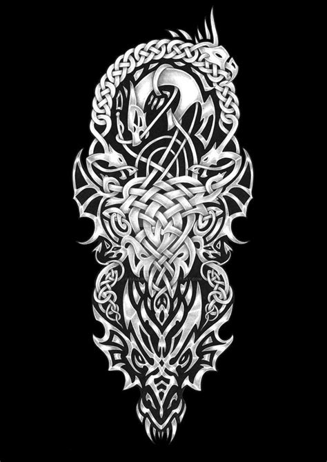 Another new custom tattoo sleeve design featuring wolves and Celtic knot work. | Tattoo designs