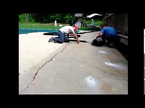 sinking slab pool patio repair youtube