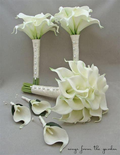 wedding bouquets calla lilies real touch calla bridal bridesmaids bouquets white 8498