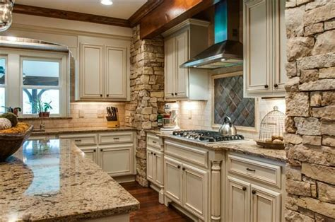 gorgeous stone wall kitchen  white cabinets mls   warrior dr franklin tn