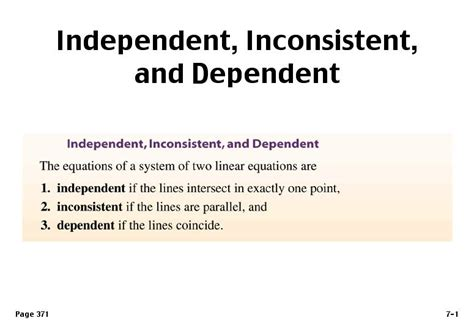 Independent, Inconsistent, And Dependent