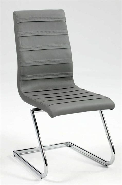 contemporary grey leather dining chair with chrome z