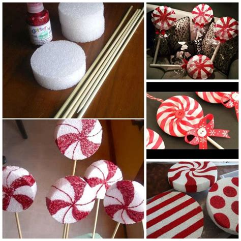 diy peppermint lollipops decorations christmas ribbon