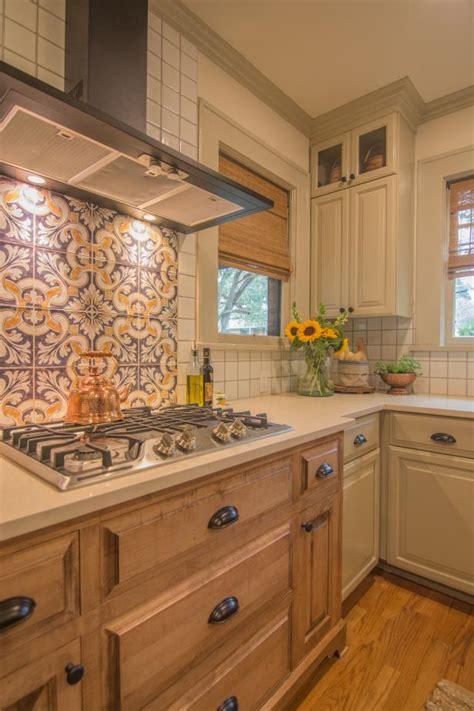 neutral mediterranean kitchen  purple  orange tile