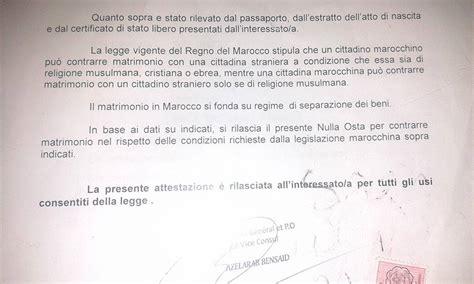 Consolato Tunisino Roma by Il Matrimonio Misto Italia Marocco Procedura Completa