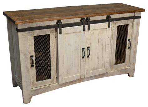 """Bayshore TV Stand, White, 60""""   Rustic   Console Tables   by Crafters and Weavers"""