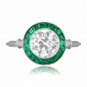 rare diamond and emerald halo engagement ring With diamond and emerald wedding rings