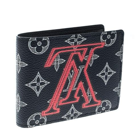 louis vuitton blue monogram canvas upside  multiple bifold wallet  sale  stdibs