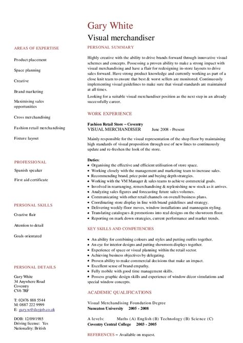 Visual Resume Sles by Visual Merchandiser Cv Hashdoc