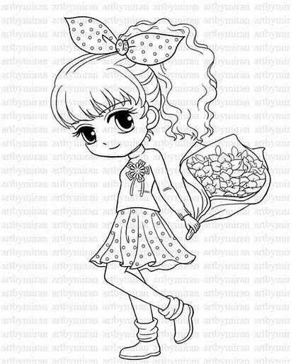 Coloring Pretty Stamp Digi Bouquet Eyes Isabel