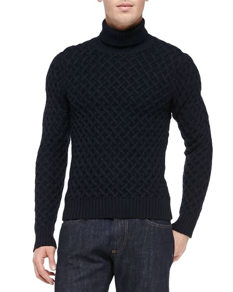 mens wool turtleneck sweater etro wool turtleneck sweater in blue for navy lyst