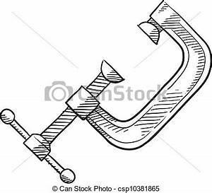 Clip Art Vector of Carpenter's C Clamp sketch - Doodle