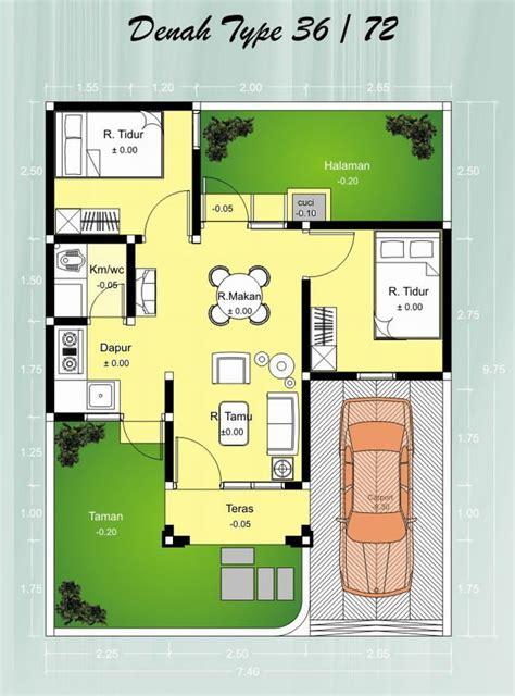 contoh denah rumah minimalis type cantik minimalist home
