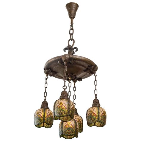 five arm arts and crafts chandelier by the