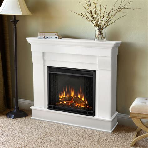 electric wall fireplace shop real 40 9 in w 4 780 btu white wood wall mount