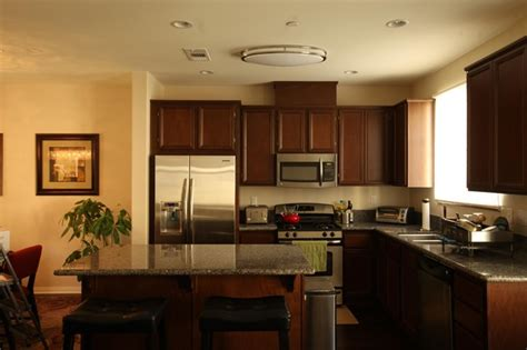 contemporary kitchen featuring  el  ceiling light