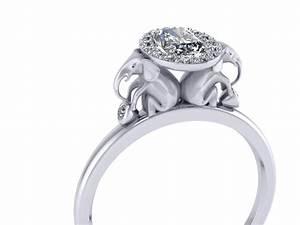 diamond halo elephant engagement ring with half carat radiant With elephant wedding ring