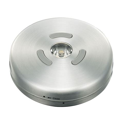 commercial electric led puck light commercial electric 3 3 in led brushed nickel puck light