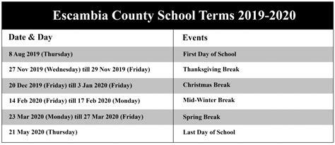escambia county schools calendar school calendar