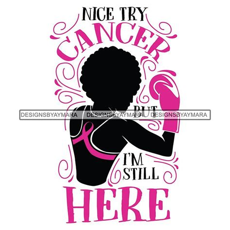strong afro woman svg cancer survivor cutting files