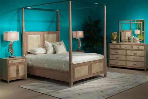 Blue Bedroom With Affordable Wooden Furniture Set Features