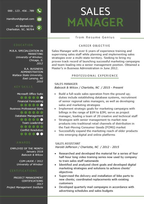 Manager Resume Template by Sales Manager Resume Sle Writing Tips Resume Genius