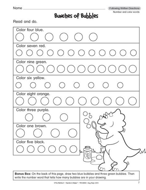 following directions worksheets for 1st grade 1 school