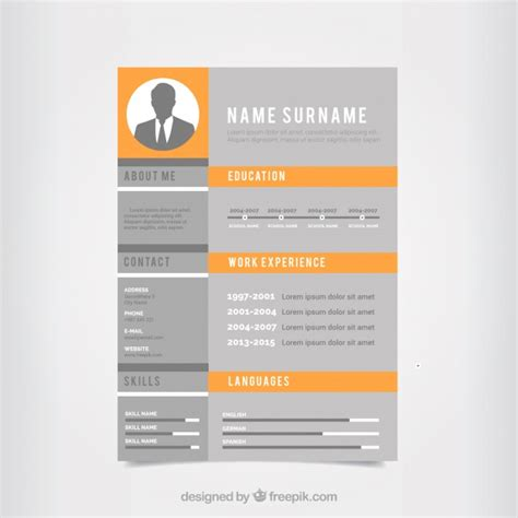 Create a professional resume with 8+ of our free resume templates. Gray and orange cv template | Free Vector