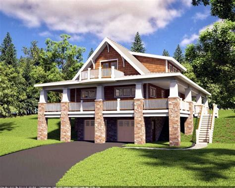 Bungalow Craftsman Hillside Home Plan