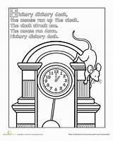 Hickory Dock Dickory Worksheets Nursery Coloring Preschool Rhyme Worksheet Clock Rhymes Printable Activities Education Animals Mouse Classic Crafts Writing Rhyming sketch template