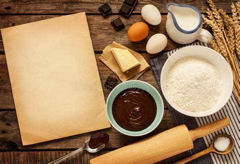 Baking Chocolate Cake   Ingredients And Blank Paper