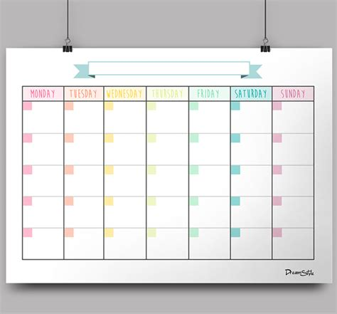 calendar monthly planner  printable  behance
