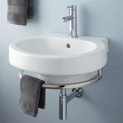 "16"" Ansel Teak Wallmount Vanity With Towel Bar & Stone"