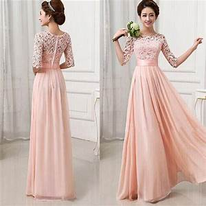 women half sleeve long lace chiffon evening party wedding With lace cocktail dress for wedding