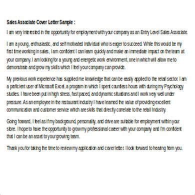 cover letter  sales associate  examples  word