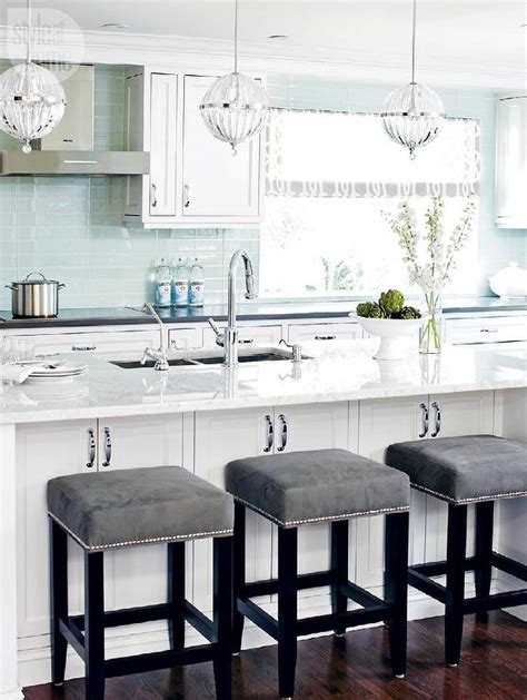 Leather Bar Stools With Nailhead Trim by White And Blue Kitchen With Gray Accents Transitional