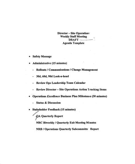 weekly meeting agenda template   word