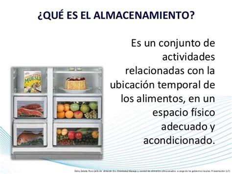 almacenamiento en servicios de alimentacion