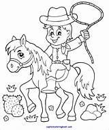 Coloring Cowboy Horse Colors Pdf sketch template