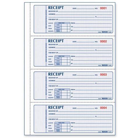 rediform rent receipt book quickship com