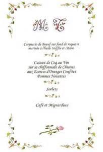 exemple menu mariage exemple de menu de mariage intérieur photo de cartes et faire parts de mariage naissance
