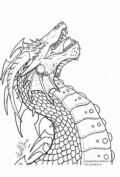 Dragon Coloring Drawings Pages Head Adult