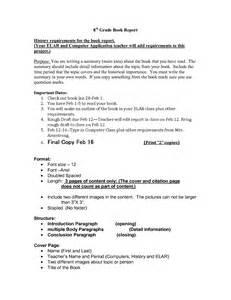 6th grade book report template