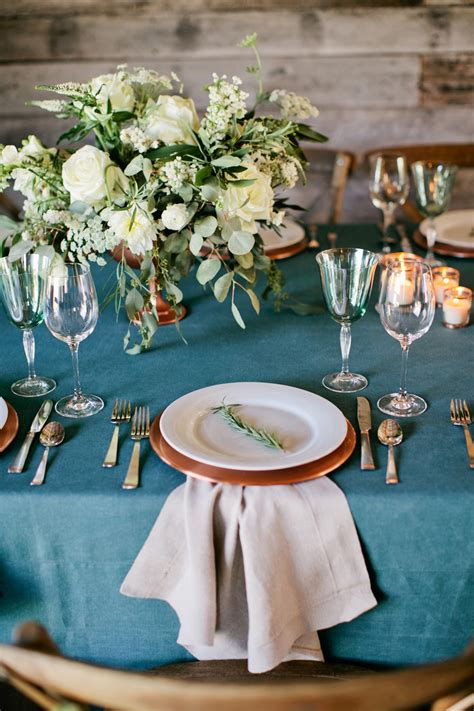 copper plates rustic wedding table elizabeth anne