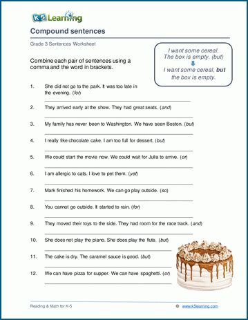 writing compound sentences worksheets  learning