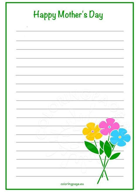 mothers day writing paper flowers coloring page