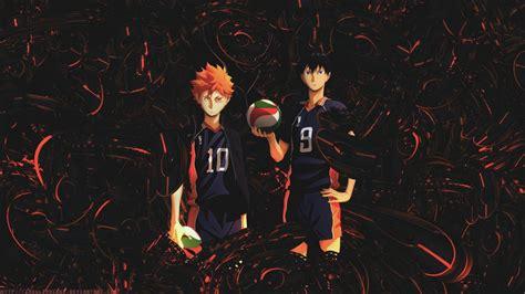 ⚠los fondos no los hice yo. Haikyu Hinata And Kageyama With Black Background And Red ...