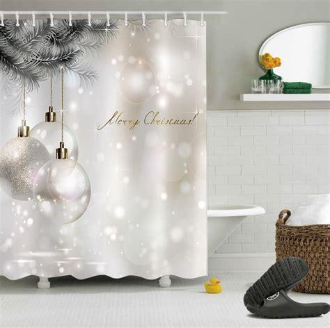 lb white shower curtains christmas glitter ball tree