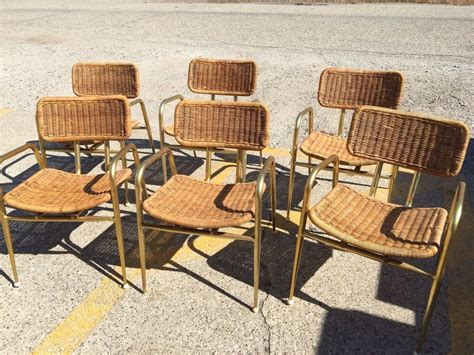 troy vintage mid century patio wicker gold aluminum chairs