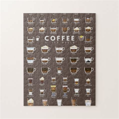 Puzzle with your own images. Coffee chart jigsaw puzzle | Zazzle.com